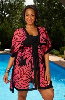 a726dcb7bcd20 This Always For Me plus size cover up is elegant and stylish with bold  Coral color leaves on a sheer Black background. Whether you decide to  lounge by the ...