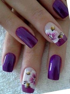 Simple Flower Nail Art Designs are a few of the most revered suggestions for nail art as the various colours and designs of flower nails. Purple Nail Art, Purple Nail Designs, Flower Nail Designs, Flower Nail Art, Nail Art Designs, Purple Manicure, Floral Designs, Ombre Nail, Nail Designs For Spring