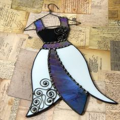 Stained Glass Dress Ornament Suncatcher Decorative Hanging.