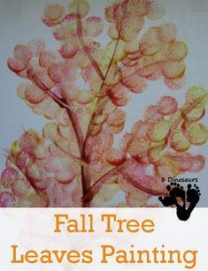 Fall Tree Leaves Painting | 3 Dinosaurs