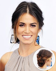 Cute...make a part in the middle and then pull it up into a loose chignon in the back