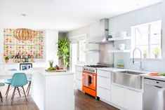 white color in mid century modern kitchen