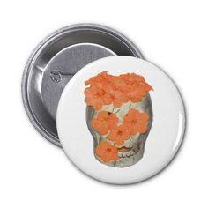 Skull With Soft Tangerine Orange Flowers Pinback Buttons