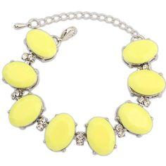 Ruby Rocks Jewellery Lemon Yellow & Crystal Bracelet ($9.20) ❤ liked on Polyvore featuring jewelry, bracelets, yellow, crystal bangle, yellow bangles, bracelet jewelry, crystal jewelry and crystal jewellery