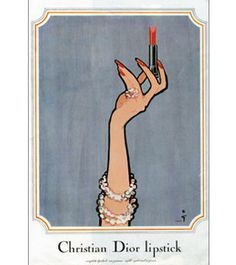 Christian Dior Lipstick by René Gruau