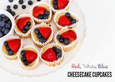 Red, White, Blue Cheescake Cupcakes