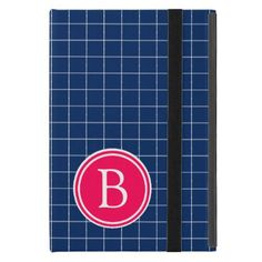 Navy Blue and Summer Pink Checks Monogram iPad Mini Case - monogram gifts unique custom diy personalize
