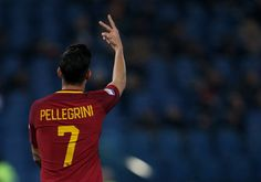 9th March 2018 Stadio Olimpico Rome Italy Serie A Football Roma versus Torino Lorenzo Pellegrini of Roma geastures to fans after scoring a goal in...