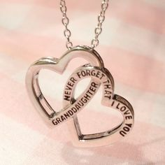 Granddaughter, Never Forget That I Love You - 2 Heart Necklace