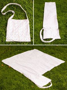DIY a tote bag that transforms into a Picnic Blanket | Brit + Co.... Wonder if I could just use any tote and attach a sheet rather than making the tote as well? Save time....