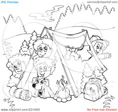 Royalty-Free-RF-Clipart-Illustration-Of-A-Coloring-Page-Outline-Of-A-Group-Of-Camping-Kids-1024231685.jpg 1,080×1,024 pixels
