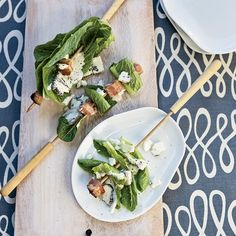 4th of July Appetizer Recipes like Bacon-and-Romaine Skewers with Blue Cheese Dressing