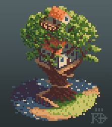Isometric pixel art treehouse by the water by RGBfumes on DeviantArt