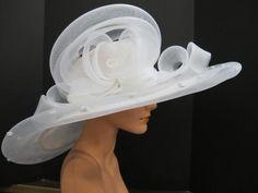 White Kentucky Derby hat.  What a fun Bride hat!