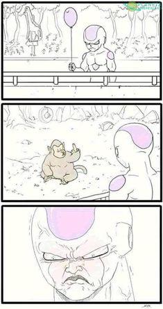 The real reason Frieza hates Saiyans and calls them monkeys! Dbz Memes, Funny Memes, Funny Art, Funny Dragon, Dragon Ball Gt, Otaku Anime, Anime Meme, Funny Comics, Funny Pictures
