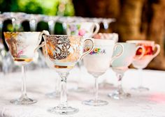Make your own teacup wine glasses with this tutorial.