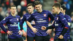 Arsenal bow out of the Champions League on away goals, despite an impressive away win at Bayern Munich. Arsenal Players, Arsenal Fc, European Football, Champions League, Munich, Football Team, Soccer, Boys, Sports