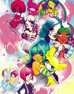 I love Fafi's candy-coated/graffiti/rainbow brite illustration style.