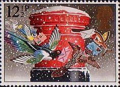 Christmas 12.5p Stamp (1983) 'Christmas Post' (pillar-box)