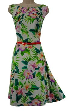 16W 1X SEXY Womens TROPICAL FLORAL DRESS w/Shiny Belt Summer Wedding PLUS SIZE #dressbarn #FitFlareDresswithBelt #Summer