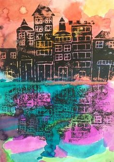 Panther's Palette: 3rd Grade: Building Prints On the first day of this lesson students review the warm and cool colors and create two paintings using liquid watercolors. On the second day students create a printing plate out of foam. Students draw buildings/cities/houses and added details. On the third day students add black ink to their prints and press prints on water colored papers
