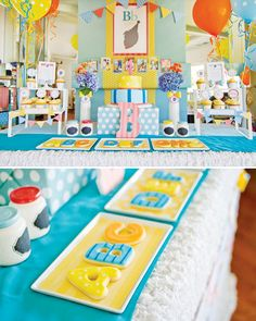 ABC Inspired First Birthday--love this colorful party and silhouette with bow tie!