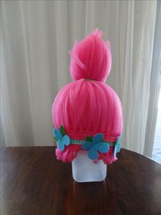Poppy Troll Hair. Crochet turban pattern with nylon ribbon looped into every fourth stitch in every second row.
