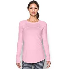 Under Armour Women's UA Sunblock 50 Long Sleeve ($50) ❤ liked on Polyvore featuring activewear, activewear tops, petal pink, under armour sportswear and under armour