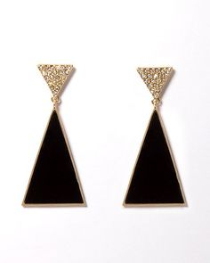 Totally Triangle Earrings | Earrings | charming charlie  Fall in love with our color of the month. Shop black accessories from #CharmingCharlie now! #InspiredByNoir