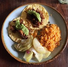 Carnitas, chayote squash and pickled onion salad, and arroz rojo... lunch at my house!