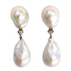 Baroque Pearl Diamond Drop Earrings at 1stdibs