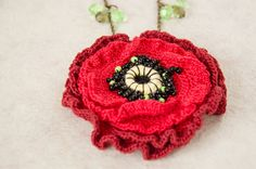 Red poppy necklace crochet flower pendant decorated with by elamys