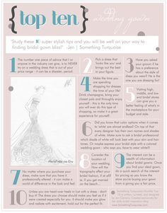 TOP 10 List: 10 tips to study before you go wedding dress shopping! #somethingturquoise