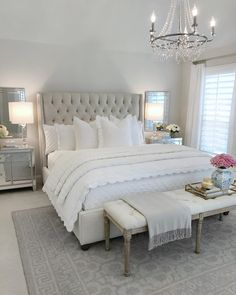 25 Exquisitely Admirable Modern French Bedroom Ideas To Steal. modern french bedroom Check out these fascinating modern French bedroom ideas to bring the style of your home to a whole new level! Master Bedroom Design, Dream Bedroom, Home Decor Bedroom, Bedroom Designs, French Bedroom Decor, Bedroom Decor Elegant, Classy Bedroom Ideas, Purple Grey Bedrooms, White Grey Bedrooms