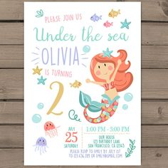 Free Mermaid Splish Splash Invitations Mermaid parties Splish