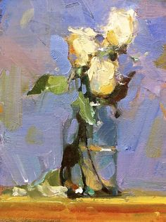 """Mini Roses Blue,"", Randall Sexton, 12x6, oil on board"
