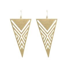 Stunning triangular shaped earrings with geometric design. Gold plated.