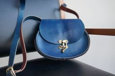Leather small oval messenger bag blue navy with by GalenUnique, $39.00