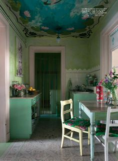 painted ceiling WOULD look nice in my dining room...Michaelangelo where are you when I need you!