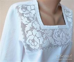 Blusa crochet Diy Decorating project home Cotton Crochet, Thread Crochet, Crochet Lace, Hand Embroidery Stitches, Crochet Stitches Patterns, Filet Crochet, Diy Crafts Crochet, Crochet Curtains, Crochet Cardigan