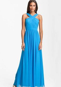 I love crisscross dresses, gowns, etc. Such a flattering style for almost everyone. ML Monique Lhuillier Bridesmaids Crisscross Chiffon Gown (Nordstrom Exclusive) available at Cute Wedding Dress, Fall Wedding Dresses, Colored Wedding Dresses, Summer Wedding, Black Bridesmaids, Bridesmaid Dresses, Prom Dresses, Monique Lhuillier Bridesmaids, Evening Dresses