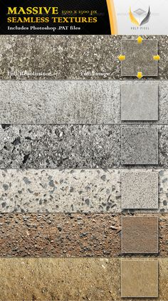 Buy 6 Seamless Concrete Textures by holypixel on GraphicRiver. All 6 textures in this file have been designed at the massive resolution of so that you can scale them al. Concrete Facade, Concrete Texture, Fu Image, Pattern Design Drawing, Stone Wall Design, Retail Facade, Concrete Background, Industrial Office Design, Seamless Textures