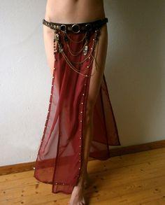 Dream Warriors dark red chiffon overskirt/long by DreamWarriors