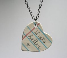 Positive Quote Heart Ceramic Necklace