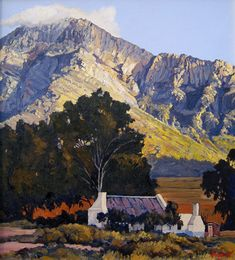 Ted Hoefsloot | The Lonehill Art Gallery Abstract Landscape, Landscape Paintings, Art Village, South African Artists, Africa Art, Building Art, Cool Art Drawings, Sketch Painting, Local Artists