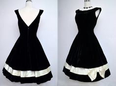 Vintage 50s Black Velvet Dress // 1950s Black & White Holiday Evening Party Dress