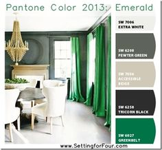 Chip it Palette with Pantone 2013 Emerald from Setting for Four.  Get the skinny here: http://www.settingforfour.com/2013/01/pantone-color-2013-emerald-with-sherwin.html  #color #paint