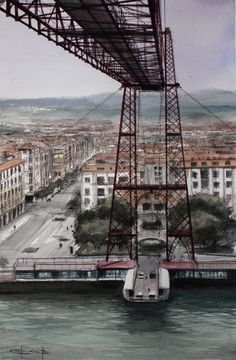 """El Puente Colgante"",/ Bizkaia Bridge, watercolour by Pablo Rubén López, Griñón, Madrid. ON HOLD / RESERVADO"