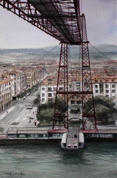 """""""El Puente Colgante"""",/ Bizkaia Bridge, watercolour by Pablo Rubén López, Griñón, Madrid. SOLD / VENDIDO"""