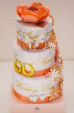 Peach Keepsake Wedding Cake Card.